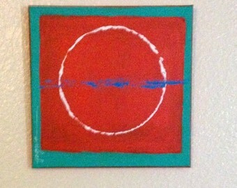 Abstract Painting in Orange and Turquoise