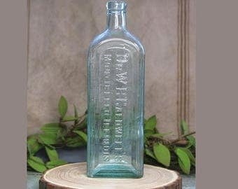 ON SALE Dr. Caldwell's MEDICINE Bottle- Monticello Illinois- Vintage Bottle- Aqua Glass- Large Bottle- D71