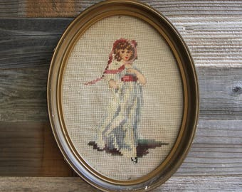 Antique Needlepoint in Oval Frame- Young Girl- Hand Sewn Needle Work- Handwork Stitching- Rose & Beige- Vintage Wall Decor- J3