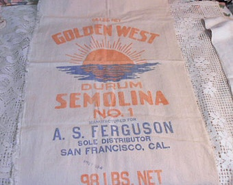 GOLDEN WEST FLOUR Sack Muslin Grain Bag Durum Semolina No 1 Printed 1920s San Francsico, Pillowcase Kitchen Wall Rustic Americana 19 x 35