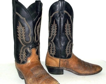 ON SALE Distressed Black and Brown  Cowboy Boots size 8 D or womens size 9.5