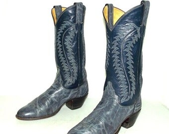 Two Tone Blue Womens Cowboy Boots Justin brand size 7.5 A Narrow Cowgirl western boho