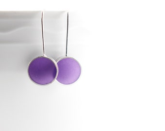 Don't Stop Earrings purple resin and sterling silver - fall winter gift