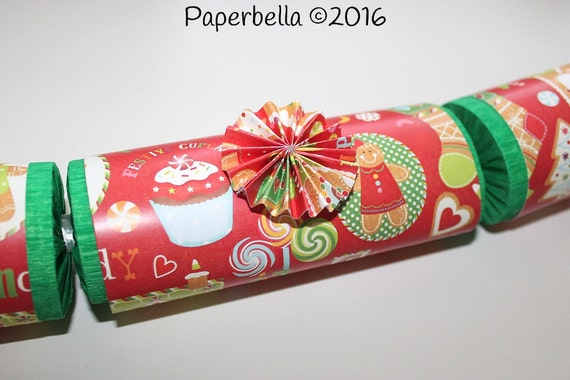 Fill Your Own Party Crackers Christmas Gingerbread House Gumdrops Red Green Party Popper, Personalize with Your Monogram and a Paper Rosette