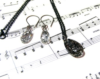 Swarovski Crystal Black Patina Pendant Earrings Jewelry Set Gift Set