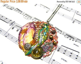 On Sale Parrot Pendant Parrot Jewelry Tropical Parrot Mixed Media Art Wearable Art Top Selling Jewelry Most Popular Jewelry Agates