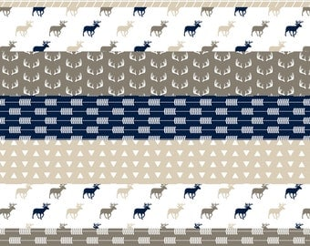 Cheater Quilt Fabric - Brown / Navy Blue Rustic Woods Wholecloth Quilt Top By Littlearrowdesign - Cotton Fabric By The Yard With Spoonflower
