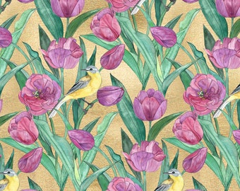 Tulip Fabric - Blue Headed Wagtail In The Tulips Large Print By Micklyn - Floral Art Deco Cotton Fabric By The Yard With Spoonflower