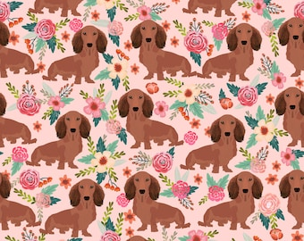 Doxie Dog Fabric - Dachshunds Floral Doxie Weiner Dog Fabric By Petfriendly - Doxie Pink Cotton Fabric by the Yard with Spoonflower