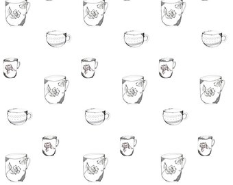 Vintage Teacup Fabric - Sketched Teacup Trio-Ed By Jennifer Rizzo - Cottage Chic Vintage Tea Cotton Fabric By The Yard With Spoonflower