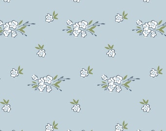 Pale Blue Floral Fabric - Ditsy Floral - Light Blue By Laurapol - Vintage Floral Cotton Fabric By The Yard With Spoonflower