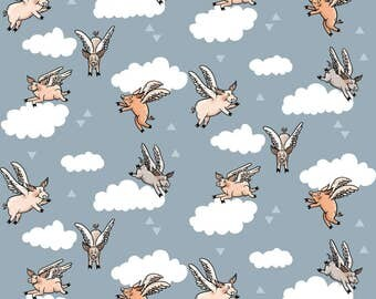 Flying Pigs Fabric - Flying Pigs By Taraput - Abstract Pig Cotton Fabric By The Yard With Spoonflower
