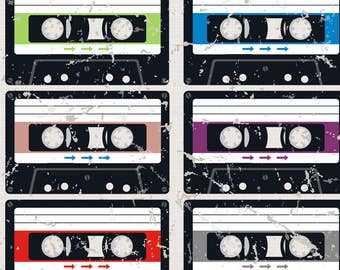 Retro Cassette Fabric - Julie'S Cassette Tapes By Juliesfabrics - Retro Rainbow Cassette Cotton Fabric By The Yard With Spoonflower