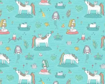 Mermaid Magic Fabric - Unicorns and Mermaids Pond By Kostolom3000 - Mermaid Unicorn Princess Cotton Fabric By The Yard With Spoonflower