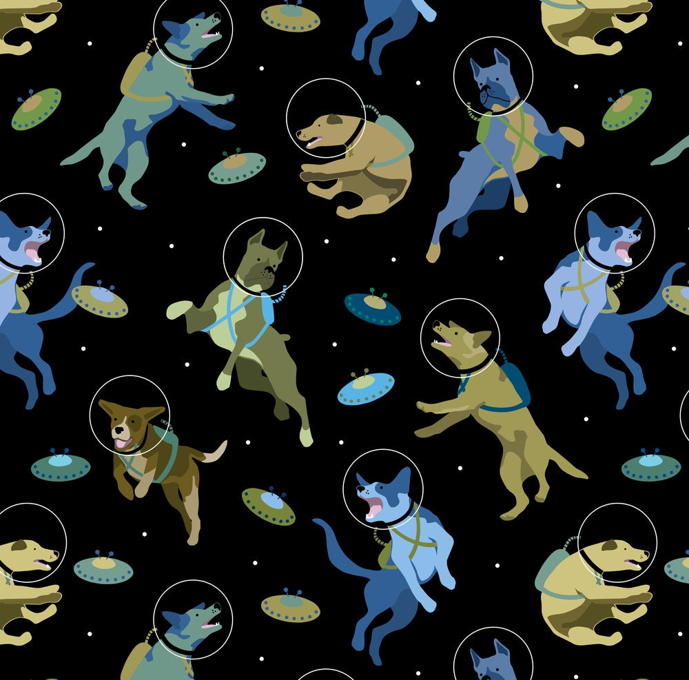 Space and dogs fabric space dogs and flying discs large for Space fabric