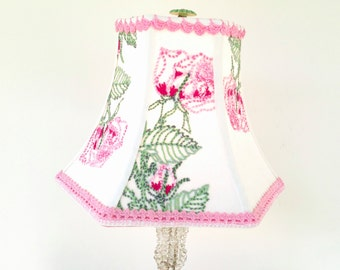 "Pink and Green Lamp Shade, Lampshade Vintage Embroidery Hex Bell 5""x10""x7.5"" - Folk Art -  One of a kind - Handmade in Vermont - unique!"