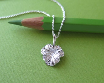 Small Apple Scented Geranium Leaf Pendant Necklace - Pure Silver Real Leaf Pendant, Herb Jewelry