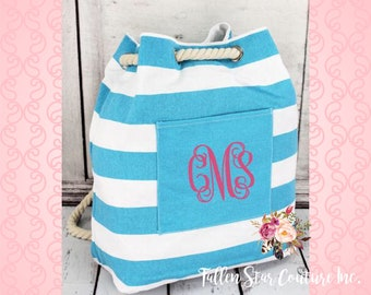Monogrammed Turquiose Nautical Striped Rope Drawstring Backpack , personalized coral beach bag , bridesmaid beach bags , beach backpack