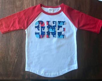 Whale Boys Birthday Tee, toddler first birthday shirt one tee whale shirt nautical fish theme party red white blue tshirt shirt raglan shirt
