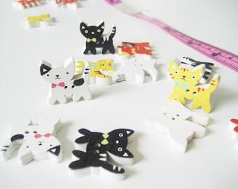 10 pcs of Kitten Wood Button - 2 Hole cute cat kitty doll colourful kawaii fun Sew knit crochet scrapbook embellishment craft diy creative