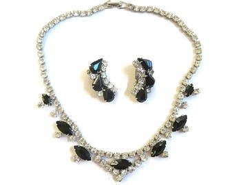 Black and Clear Rhinestone Choker Necklace and Earrings Set Vintage