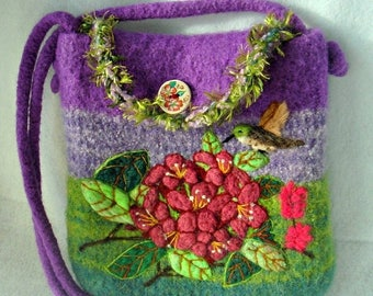 MY BIRTHDAY SALE Felted Purse, Felted Handbag, Rododendren Flower, Flower art, Needle felt Flower,Hummingbird