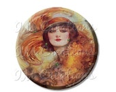 """15% OFF - Pocket Mirror, Magnet or Pinback Button - Wedding Favors, Party themes - 2.25""""- Vintage 1920s Flapper Green Eyes MR355"""