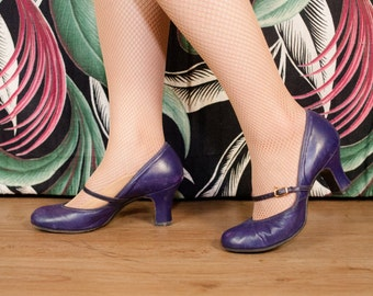 Vintage 1930s Shoes - Fabulous Purple Leather Mary Jane Late 30s Heels Size 6 AA