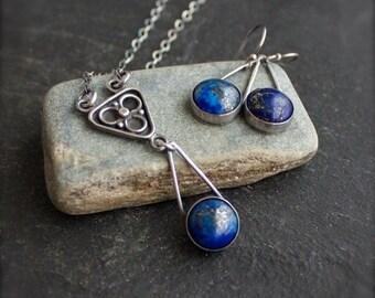 ON SALE Lapis Lazuli Necklace Earrings Set - Gemstone Jewelry, Gold Pyrite, Teardrop Pendant, Dark Oxidized Patina, Boho Metalwork Jewelry