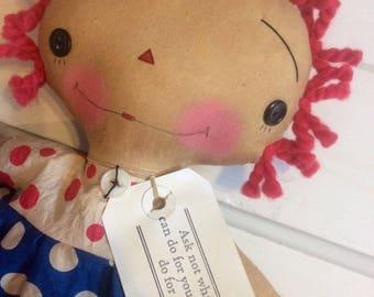 USA Raggedy Ann - Raggedy Annie - patriotic doll - Ragdoll - doll - fourth of July doll - Raggedy ann -