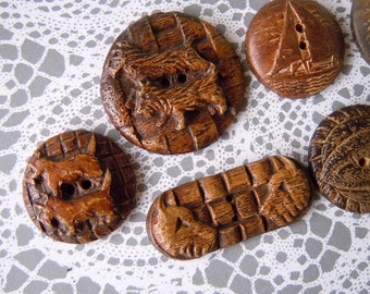 7 Large Wooden Scottie Dogs Buttons Oval and Circular Sewing Buttons Lot
