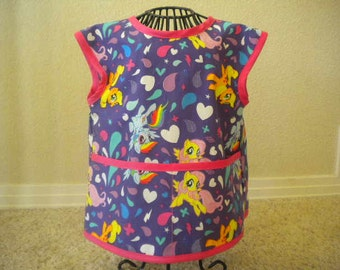 My little Pony Toddler Art Smock or Apron With Bright Pink Trim. Size 3t-4t.