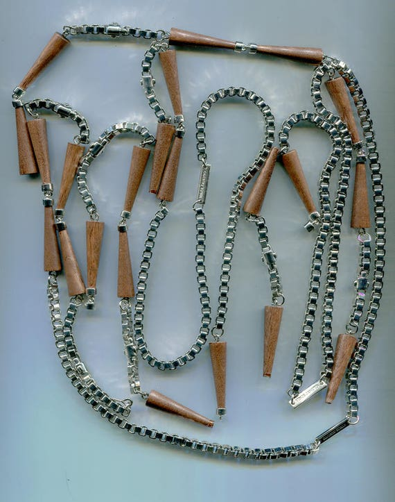 broken silver chains necklaces wood charms costume jewelry making lot