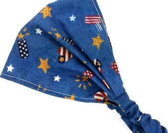 4th of July child bandana headscarf, independence day,, unisex boy girl headband, patriotic american USA flags stars, baby toddler newborn