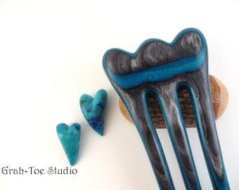 Petalon Hair Fork Dark Aqua Wood, Hairforks, Wood Hair Fork,Grahtoe Studio, Gift for her, Man bun fork,Hair Stick, Hair Pin, Hairsticks