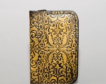 NEW!!! Ladies Textured Minimalist Leather Wallet - Yellow and Black