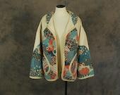 vintage 1970s Quilted Jacket - 70s Floral Patchwork Prairie Jacket Swing Coat Sz XL