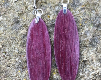 Natural Purple Color Wood Earrings