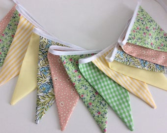 Pastel Bunting fabric Garland, pretty pastel citrus bunting, spring wedding, easter party, mothers day