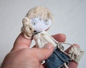 Young Girl, Art doll brooch, Personalized gift for her