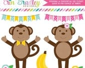 70% OFF SALE Monkey Clipart Commercial Use Jungle Animals Clip Art Graphics Instant Download