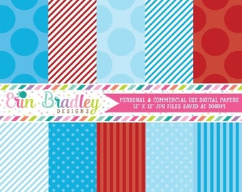 50% OFF SALE Digital Paper Pack Personal and Commercial Use Blue and Red Polka Dots and Stripes