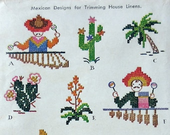 """McCall 1453 - Vintage 1940s Kaumagraph Transfer with """"Mexican"""" Theme - Cactus, Cactii - Embroidery Motifs - Cute Vintage Southwestern Design"""