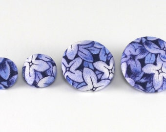 Fabric Button, Delft Blue Flowers, 6 Medium Or 6 Small Sized Fabric Covered Buttons, Hydrangea Floral Cottage Chic, Shabby Elegance Button