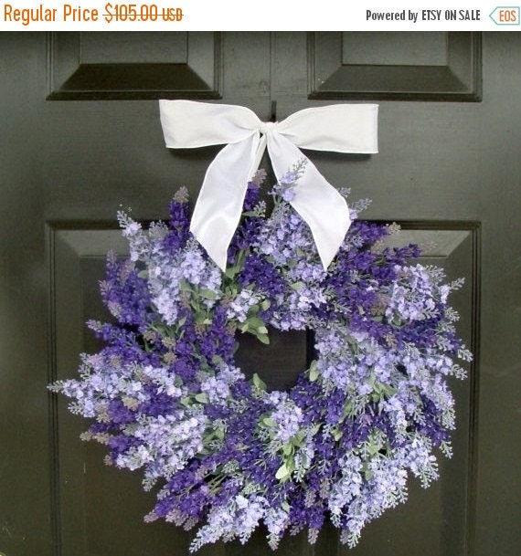 SPRING WREATH SALE Lavender Wedding Wreath- Summer Wreath- Lavender Wreath with Ribbon- Spring Wreath- 20 inch