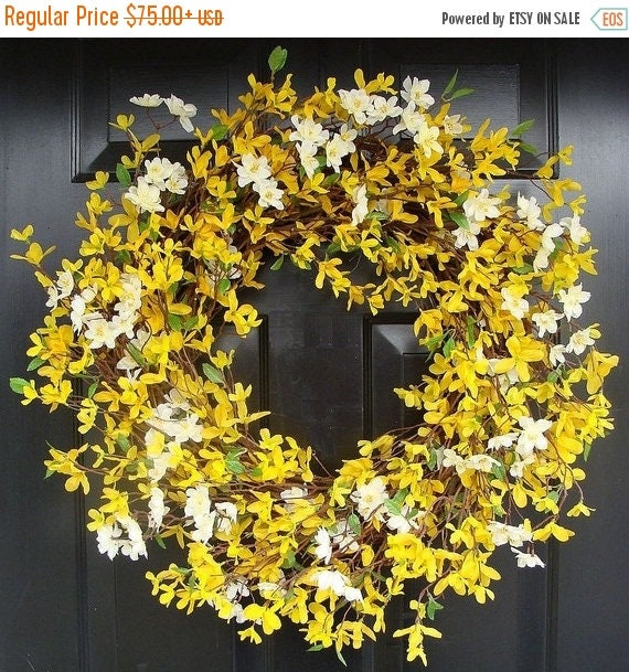 SPRING WREATH SALE Cherry Blossom and Forsythia Wreath- Yellow Wreath- Spring Decor- Summer Wreath