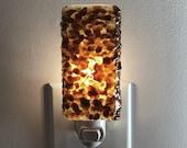 Night Light - Amber Kitchen or Bathroom Night Light, Fused Glass, Home Decor, Housewarming Gift, Lighting, Plug In,