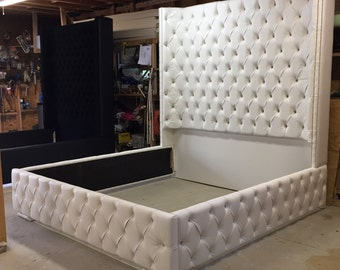 king size tufted bed luxurious wingback tufted bed white bed with nickel nailheads bedroom furniture - Tufted Bed Frame King