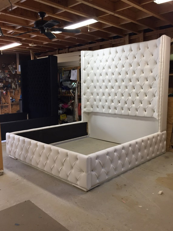 King Size Tufted Bed Luxurious Wingback Tufted Bed White Bed