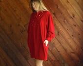 extra 30% off sale . . . Red Corduroy RALPH LAUREN Mini Dress - Vintage 80s - LARGE
